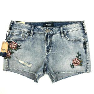 Silver Jeans Embroidered High Rise Shorts